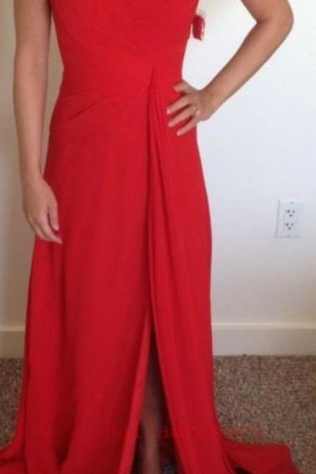 Red Strapless Sweetheart Ruched Chiffon A-line Long Prom Dress, Evening Dress Featuring Side Slit
