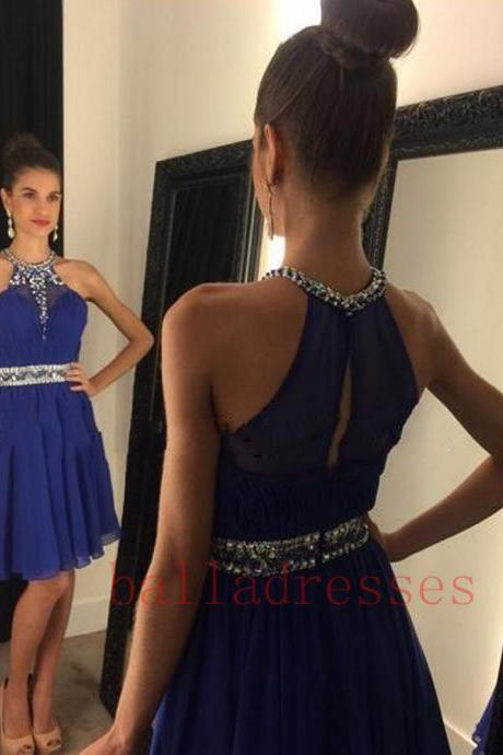 Royal Blue Homecoming Dress,Simple Homecoming Dresses,Beading Homecoming Gowns,Short Prom Gown,Sweet 16 Dress,Bling Homecoming Dresses,Chiffon Cocktail Dress,Glitter Formal Dress