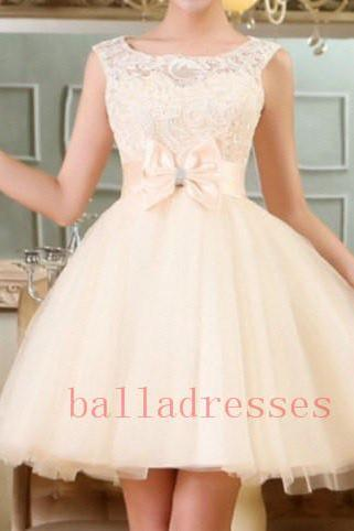 Homecoming Dress,Lace Homecoming Dresses,Short Prom Gown,Champagne Homecoming Gowns,2016 Homecoming Dress,Ball Gown Homecoming Dresses,2016 Sweet 16 Dress For Teens