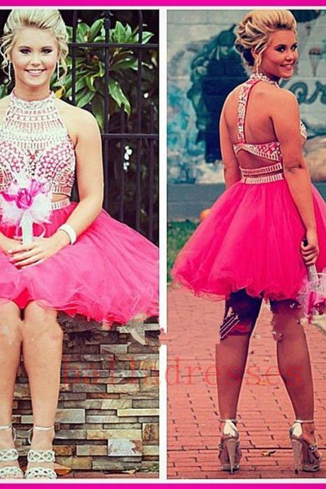 Homecoming Dress,2 Piece Homecoming Dresses,Silver Beading Homecoming Gowns,Short Prom Gown,Pink Sweet 16 Dress,Homecoming Dress,2 pieces Cocktail Dress,Two Pieces Evening Gowns