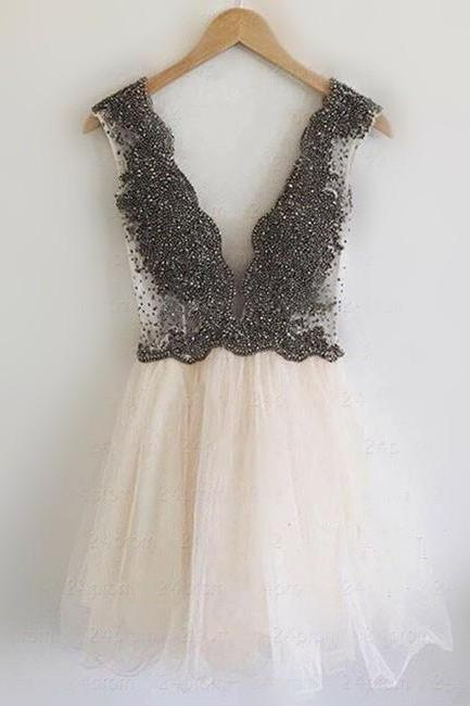 Deep V Neck Prom Dres,Cute Prom Dress,Short Homecoming Dress,Tulle Party Dress,Juniors Homecoming Dresses, Black Beading Homecoming Dresses