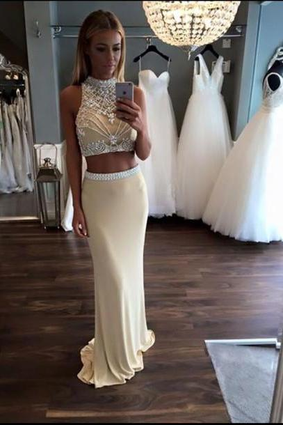 Prom Gown,Two Piece Prom Dress,Evening Gowns,2 Pieces Party Dresses,Evening Gowns,2 Pieces Formal Gown For Teens