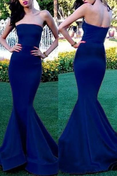 Mermaid Prom Gown,Royal Blue Evening Gowns,Beaded Party Dresses,Mermaid Evening Gowns,Sexy Formal Dress For Teens