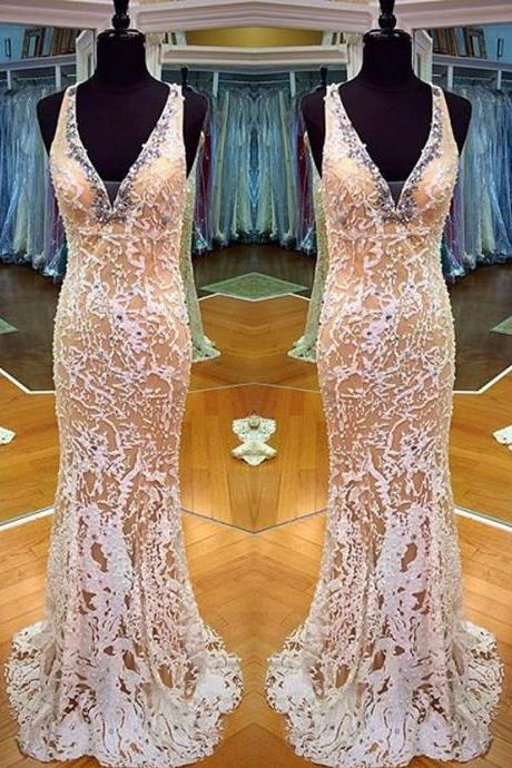 Elegant Prom Dress -Mermaid V-Neck Sleeveless Rhinstone with Appliques Evening dress