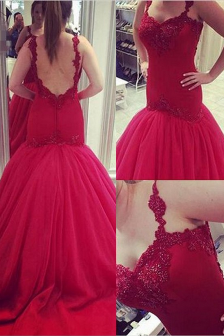 New Arrival Off-the-Shoulder Wine Red Trumpet/Mermaid Bridesmaid DressMermaid Prom Dress/Evening Dress - Red V-Neck Court Train Appliques