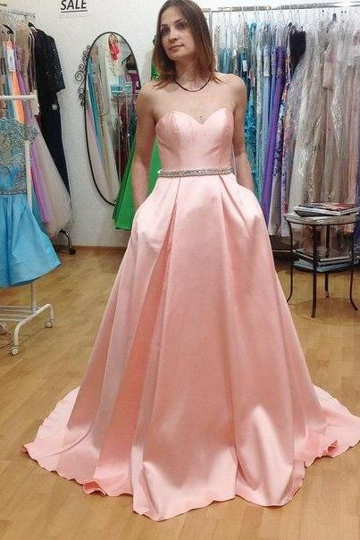 Pink Satin Sweetheart Floor Length Ball Gown Featuring Beaded Embellished Belt, Prom Gown
