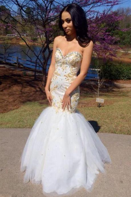Custom Made White Sweetheart Neckline Tulle Mermaid Prom Dress with Gold Applique and Beading