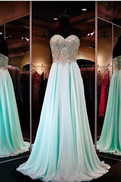 Custom Made Mint Green Sweetheart Neckline Chiffon Full Length Prom Dress with Gold Beading