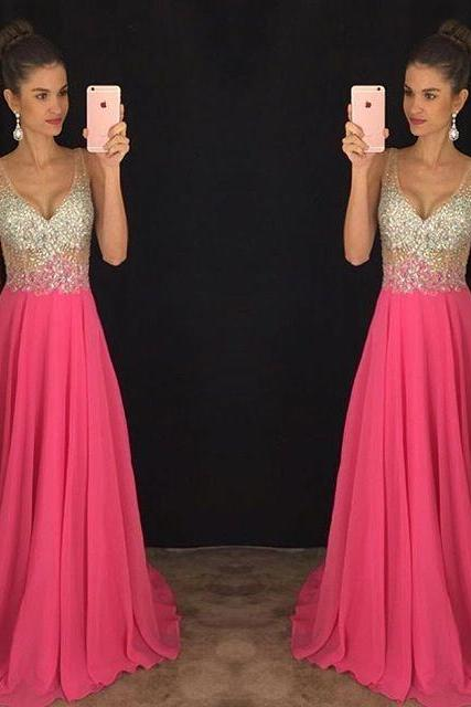 2017 New V-Neck Prom Dress Long Party Gowns Formal Pageant Evening Celebrity Long Dress Vestidos De Novia