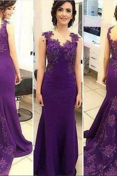 Delicate Appliques Beaded Purple Mermaid Prom Dresses Sleeveless Sweep Train Evening Party Gowns Custom