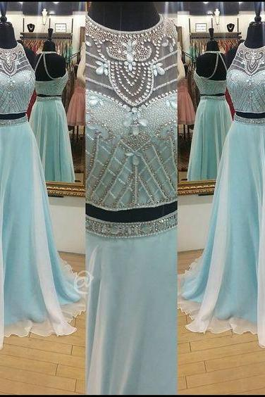 Prom Dresses,Light Blue Prom Dress,New Prom Gown,2 pieces Prom Dresses,Chiffon Evening Gowns,2 piece Evening Gown,sparkle Prom Gowns,sparkly prom dress