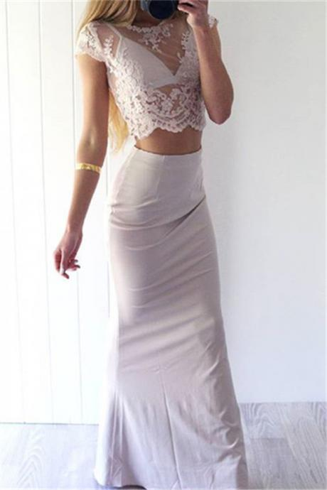 Sexy Prom Dresses,White Lace Evening Gowns,Mermaid Party Dresses,2 pieces Evening Gowns,Modest Formal Dress,Evening Gown For Teens