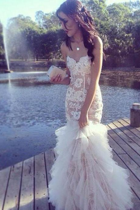 Sexy Prom Dresses,White Lace Evening Gowns,Mermaid Party Dresses,Tulle Evening Gowns,Modest Formal Dress,Champagne Evening Gown For Teens