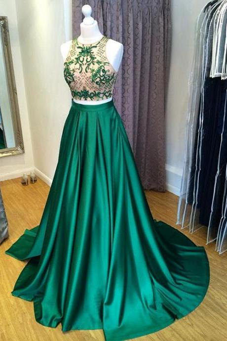Two Piece Prom Dresses,Green Two Piece Cut Out Shoulder Prom Dress, Formal Gown Beaded Crop Top Evening Gowns