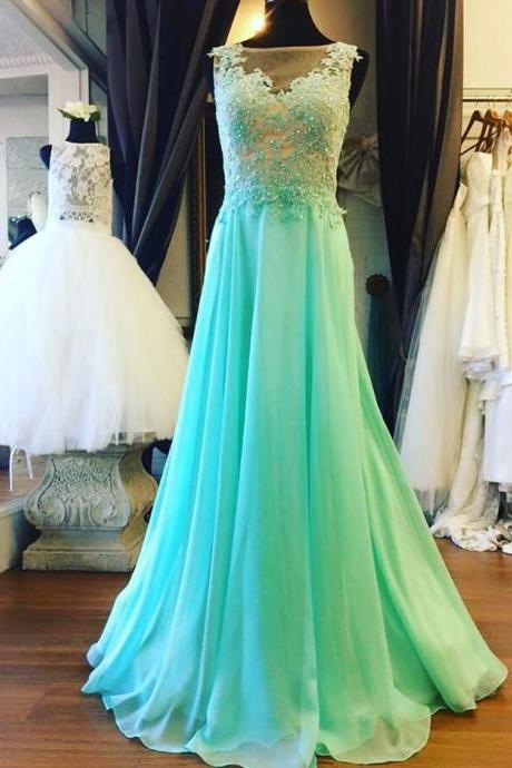 Prom Dresses,Prom Dress,Mint Green Illusion Sheer Back Prom Dress , Formal Gown With Lace Applique
