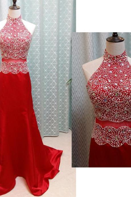 Red Prom Dresses,Charming Prom Dress,Beading Prom Dress,High-Neck Prom Dress,Satin Evening Dress