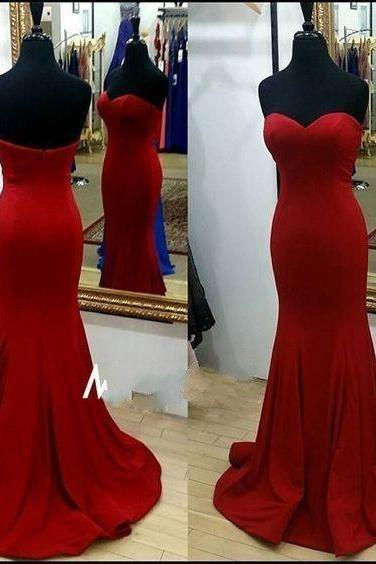 Red Prom Dress,Charming Prom Dress,Satin Prom Dress,Mermaid Prom Dress,Sweetheart Evening Dress