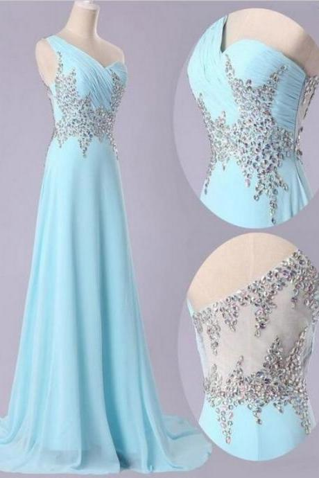 One Shoulder Prom Dresses,Light Blue Prom Dress,Chiffon Prom Gown,Prom Dresses,Evening Gowns,New styles Evening Dresses
