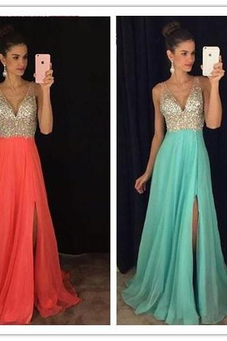 Split Prom Dresses,Beaded Evening Gowns,Sexy Formal Dresses,Sparkle Prom Dresses,Split Evening Gown,Slit Evening Dress,Sparkle g Prom Gowns