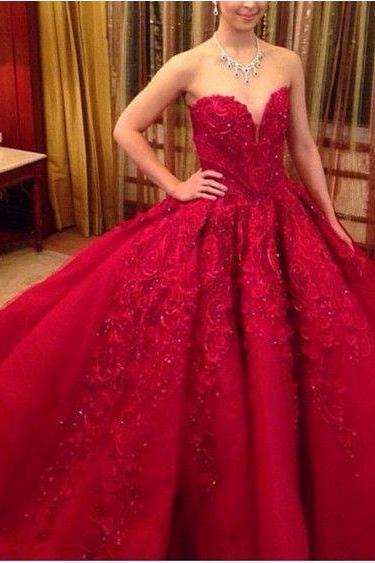 Red Prom Dress,Ball Gown Lace Prom Dress,Beaded Bodice Prom Gown,Princess Prom Dresses,Sexy Evening Gowns, New Fashion Evening Gown,Red Party Dress For Teens