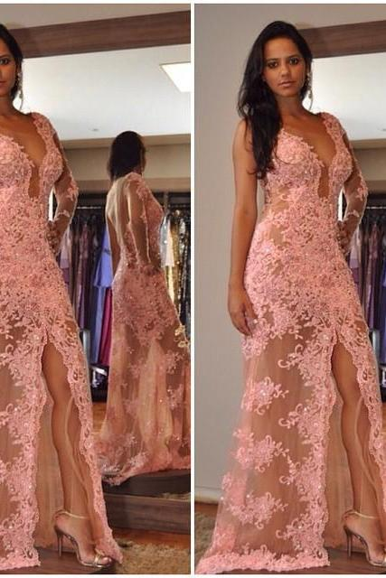 2017 New Style Prom Dress Blush Pink lace Evening Gowns slit prom gowns