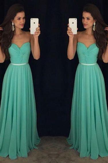 New Arrival Prom Dress,Green long prom dresses,elegant A-line chiffon prom dresses,2017 evening formal gowns
