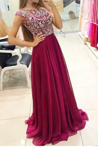 New Arrival Prom Dress,wine red long prom dress,chiffon beaded long A-line Prom Dress,Formal Dress