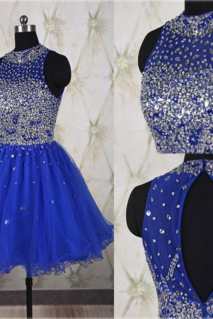 Beaded Prom Dress,Royal Blue Prom Dress,Mini Prom Dress,Fashion Homecomig Dress,Sexy Party Dress, New Style Evening Dress