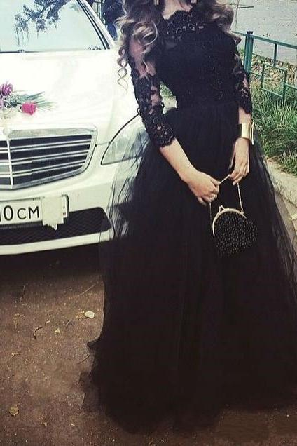 Black Prom Dress,Lace Prom Dress,Illusion Prom Dress,Fashion Prom Dress,Sexy Party Dress, New Style Evening Dress