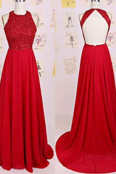 Red Prom Dress,Beaded Prom Dress,Backless Prom Dress,Fashion Prom Dress,Sexy Party Dress, New Style Evening Dress