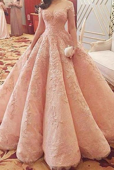 Modest Quinceanera Dress,Pink Ball Gown,Applique Prom Dress,Fashion Prom Dress,Sexy Party Dress, New Style Evening Dress
