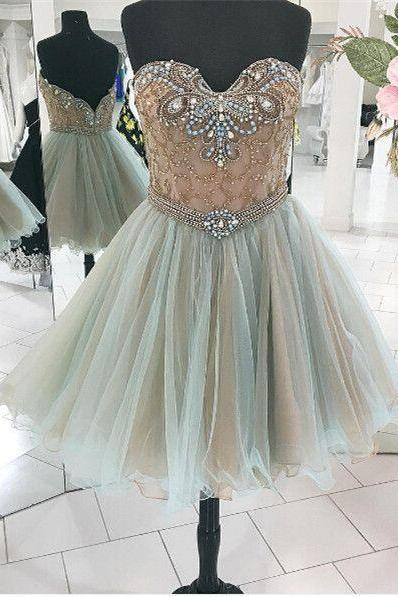Sweetheart Prom Dress,Beaded Prom Dress,Mini Prom Dress,Fashion Homecomig Dress,Sexy Party Dress, New Style Evening Dress