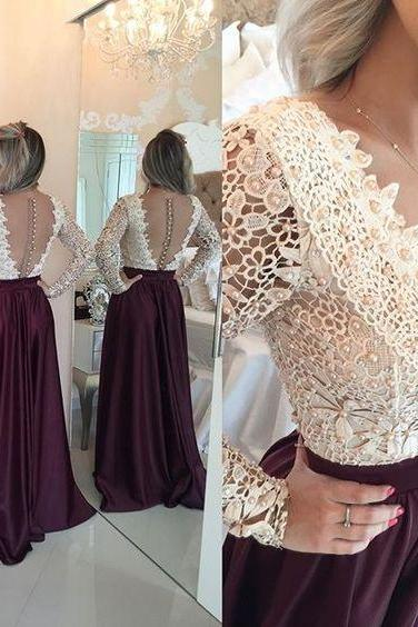 Long Sleeve Prom Dress,Beaded Prom Dress,Lace Prom Dress,Fashion Prom Dress,Sexy Party Dress, New Style Evening Dress