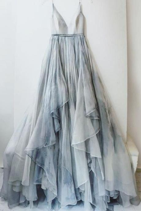 Spaghetti Prom Dress,A Line Prom Dress,Layered Tulle Prom Dress,Fashion Prom Dress,Sexy Party Dress, New Style Evening Dress