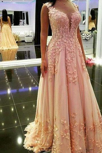 Floral Prom Dress,Pink Prom Dress,Maxi Prom Dress,Fashion Prom Dress,Sexy Party Dress, New Style Evening Dress