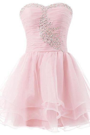 Pink Prom Dress,Beaded Prom Dress,Mini Prom Dress,Fashion Homecomig Dress,Sexy Party Dress, New Style Evening Dress