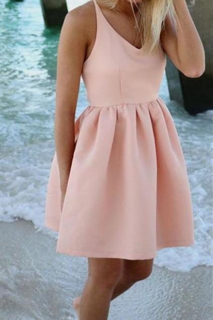 Pink Prom Dress,V Neck Prom Dress,Mini Prom Dress,Fashion Homecomig Dress,Sexy Party Dress, New Style Evening Dress