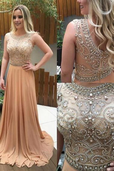 Beaded Party Dress,Chiffon Prom Dress,Maxi Prom Dress,Fashion Prom Dress,Sexy Party Dress, 2017 New Evening Dress
