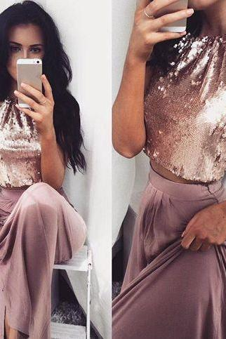 Sequins Party Dress,Two Pieces Prom Dress,Halter Prom Dress,Fashion Prom Dress,Sexy Party Dress, 2017 New Evening Dress