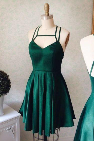 Forest Green Satin Plunge V Strappy Short Ruffled Skater Homecoming Dress Featuring Open Back