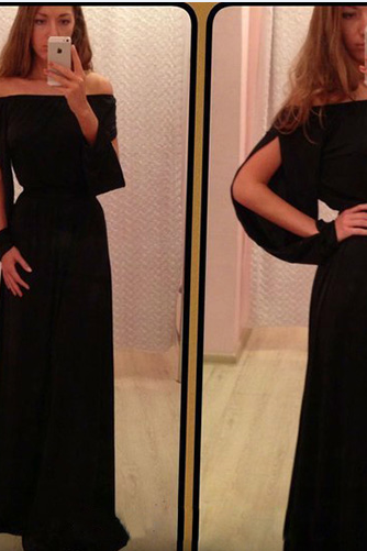 Off The Shoulder Prom Dress,Black Prom Dress,Maxi Prom Dress,Fashion Prom Dress,Sexy Party Dress, 2017 New Evening Dress