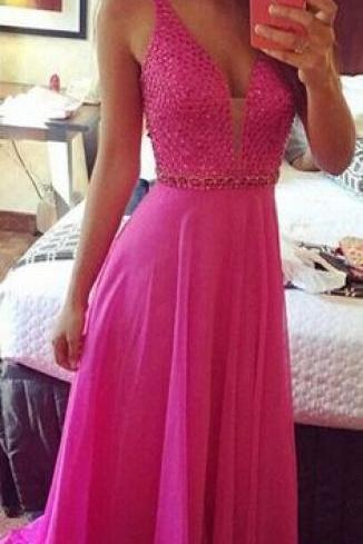 Beaded Prom Dress,Deep V Neck Prom Dress,Maxi Prom Dress,Fashion Bridesmaids Dress,Sexy Party Dress, 2017 New Evening Dress