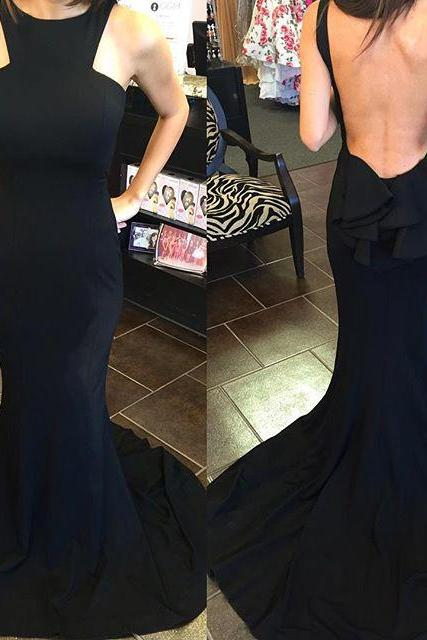 Backless Prom Dress,Mermaid Prom Dress,Black Prom Dress,Fashion Bridesmaids Dress,Sexy Party Dress, 2017 New Evening Dress