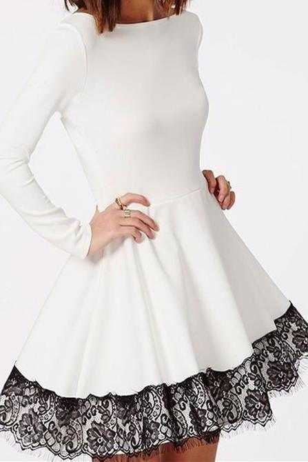 Long Sleeves Dresses,White Prom Dress,Lace evening dress,Short Prom Dress,new fashion evening dress,2017 Prom Dress,