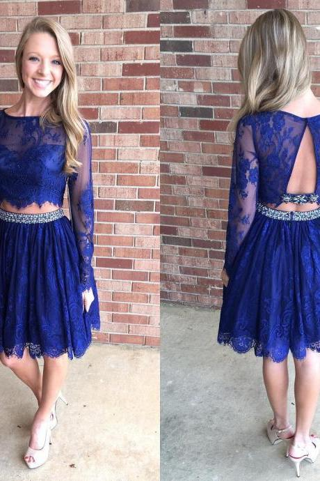 Homecoming Dress,homecoming dresses,lace homecoming dresses,short prom dresses,long sleeves dresses,elegant homecoming dresses