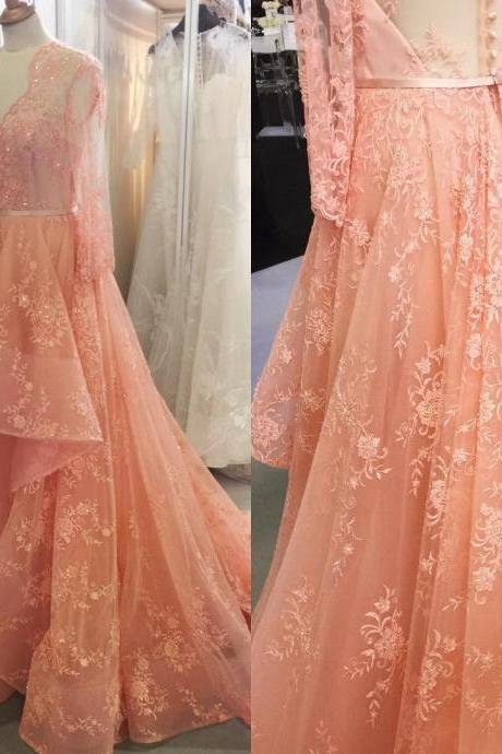 New Arrival Prom Dress,Modest Prom Dress,coral prom dresses,lace prom dresses,long sleeves prom dresses,formal evening gowns,elegant prom dress 2017