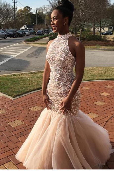 New Arrival Prom Dress,Modest Prom Dress,Pearl Beaded Prom Dresses,Mermaid Prom Gowns,Prom Dresses 2017 Long,Halter Evening Dress,Pageant Gowns