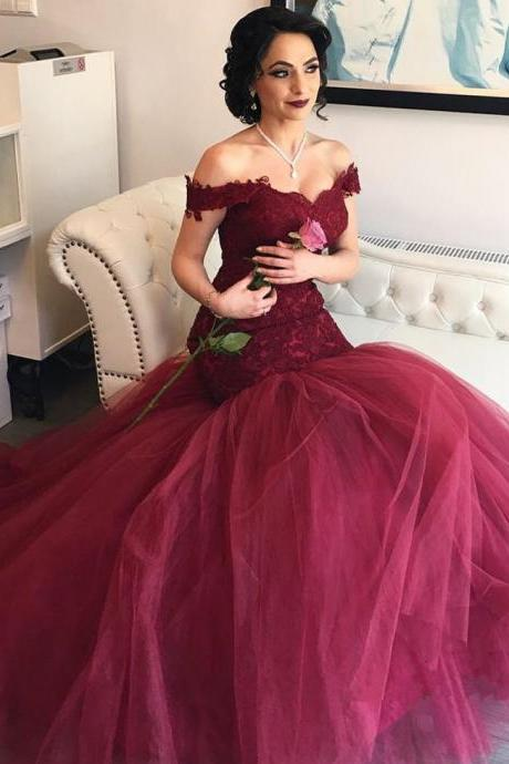 burgundy prom dress,Lace Prom Dresses,Mermaid Prom Gowns,Long Formal Dress,Elegant Evening Gowns,Women's Prom Dress 2017