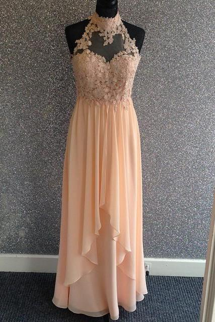 New Arrival Prom Dress,Modest Prom Dress,Elegant Lace Halter Long Chiffon Champagne Prom Dresses 2017 Prom Dress