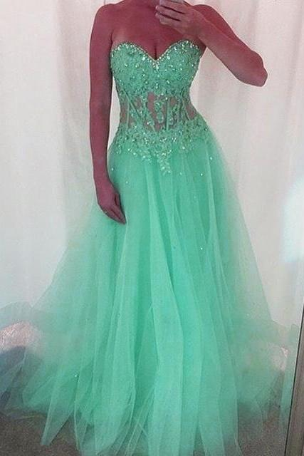 New Arrival Prom Dress,Modest Prom Dress,Mint Green ,Long ,Tulle ,Prom Dresses, Sweetheart Neckline ,With ,Lace, Appliques ,2017prom dress